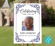 Large funeral welcome sign with editable text and photos
