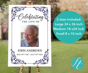 Large funeral poster in 3 sizes large 24 x 36 inches, medium 18 x 24 inches and small 8 x 10 inches