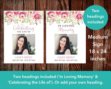 Medium funeral poster with 'Celebration of life or 'In loving memory headings