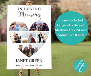 Heart photo collage funeral sign comes in 3 sizes