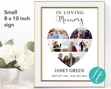 Small funeral sign with heart photo collage