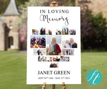 Heart photo collage funeral welcome sign