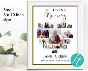 Funeral welcome sign with photo collage
