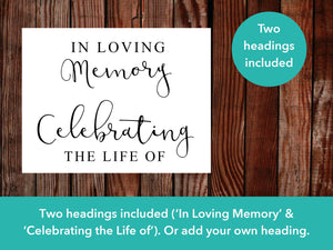 Photo Collage Funeral Poster with two headings