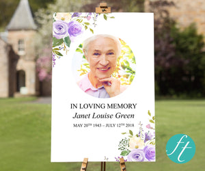 Lilac bloom funeral welcome sign template