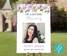 Lilac Bouquet Funeral Welcome Sign