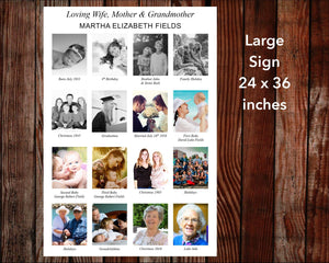 Memory Squares Funeral Welcome Sign