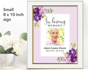 Peonies Bloom Funeral Welcome Sign