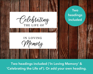 Funeral welcome sign comes with two headings - 'Celebrating the life of' and 'In loving memory of'