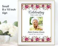 Pink Bloom Funeral Welcome Sign