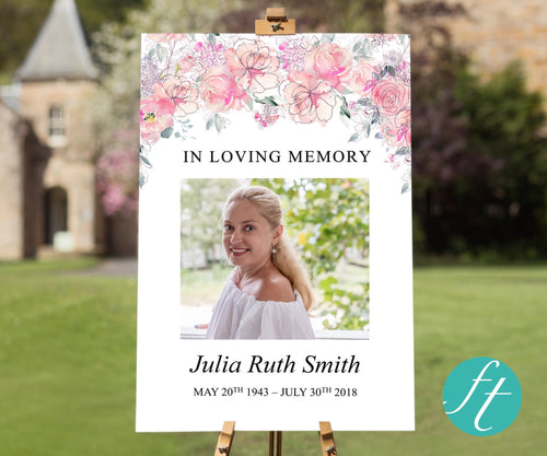 pink floral funeral welcome sign