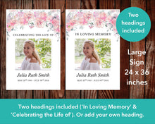 Large memorial sign with pink watercolor flowers editable with Microsoft PowerPoint