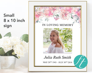 Small funeral welcome sign with pink watercolor flowers