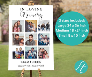 Memorial welcome sign with photo collage in 3 sizes large, medium and small
