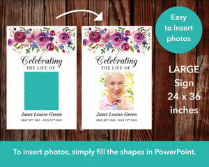 Easy to insert photos to your funeral welcome sign