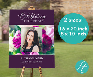 Large memorial sign with purple peonies design