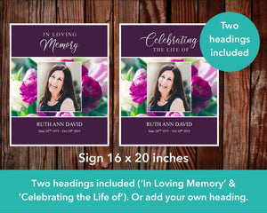 Large sign with two headings in loving memory and celebrating the life of