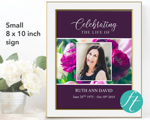 Purple Peonies Funeral Welcome Sign