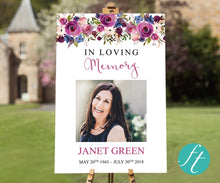 Beautiful purple roses funeral welcome sign