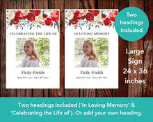 Large funeral sign with two title options 'In loving memory' and 'A celebration of life'