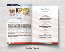4 Page American Flag Funeral Program Template