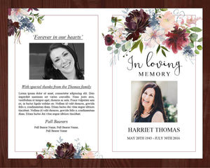4 Page Autumnal Funeral Program + Sign, Slide Show & Bookmark