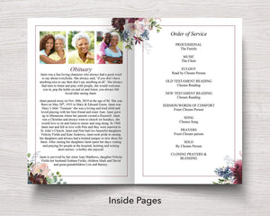4 Page Autumnal Funeral Program Template