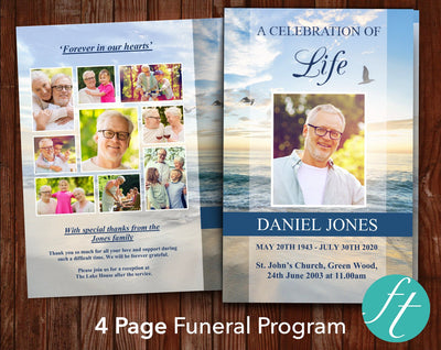 4 Page Beach Funeral Program Template