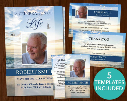 4 page funeral program template with four matching templates including funeral invitation, funeral prayer card, funeral thank you card and sign