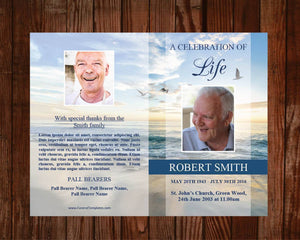 4 page obituary template with beach design