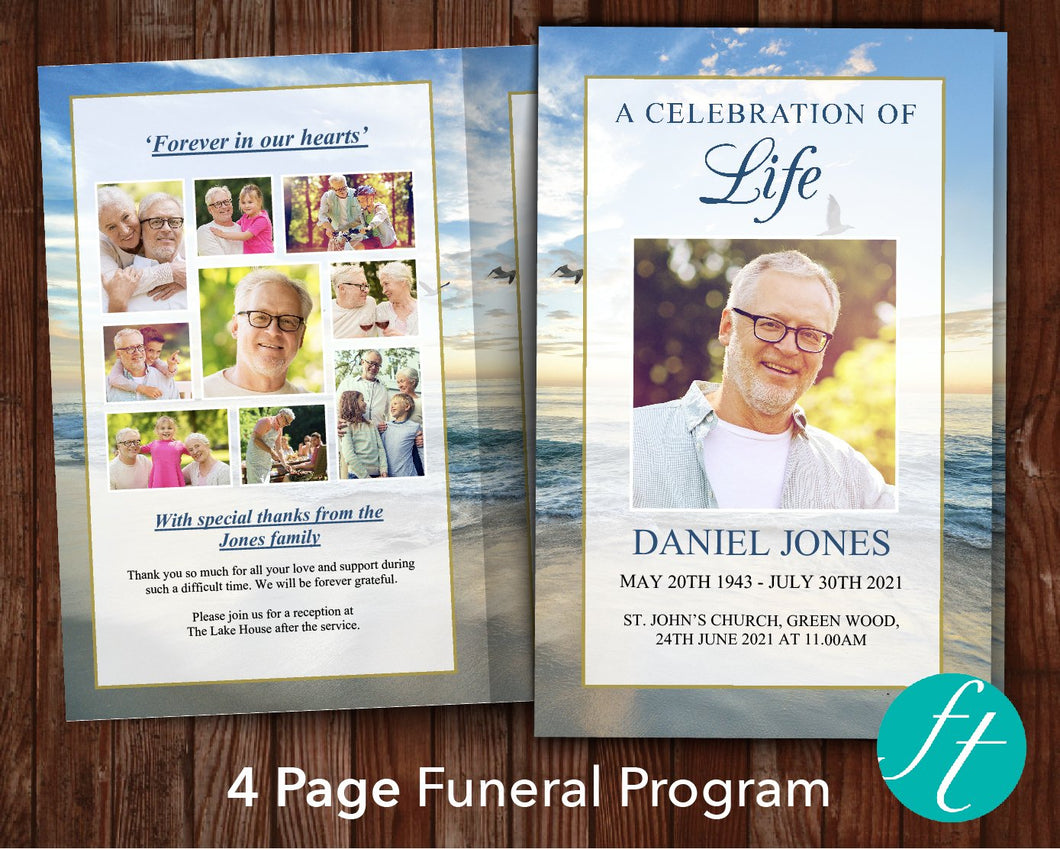 4 Page Beach Sunrise Funeral Program Template