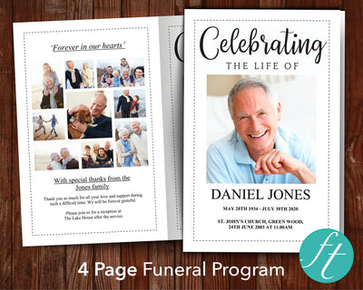 4 Page Classic Funeral Program Template