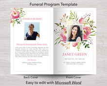 4 Page Floral Burst Funeral Program + Sign, Slide Show & Bookmark