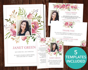 Pink Watercolor template set including invitation, program, prayer card, thank you card and sign