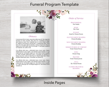 4 Page Floral Display Funeral Program Template - inside pages