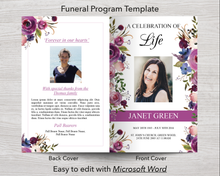 4 Page Floral Display Funeral Program Template