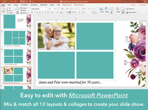 Purple Roses Funeral Slide Show is easy to edit with PowerPoint