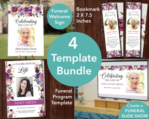 4 Page Floral Display Funeral Program + Sign, Slide Show & Bookmark