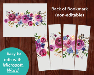 Back of Purple Roses Funeral Bookmark