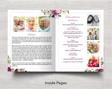 4 Page Floral Display Funeral Program Template (11 x 17 inches)