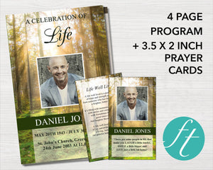 Memorial program for men with forest photo design and matching prayer card