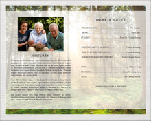 Funeral program for men with green forest design