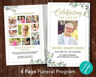 4 Page Green Leaf Funeral Program Template