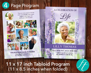 4 Page Lavender Funeral Program Template (11 x 17 inches)