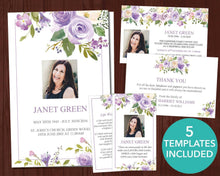 4 Page Lilac Bouquet Funeral Program Template + 4 matching Templates