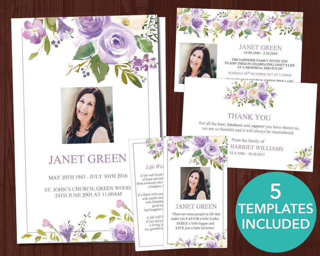 Funeral template set including funeral program, invitation, thank you card, sign and prayer card with lilac floral design