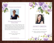 4 page memorial program with lilac flowers