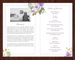4 page obituary program with purple watercolor flowers