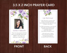 Printable funeral prayer card with purple flowers