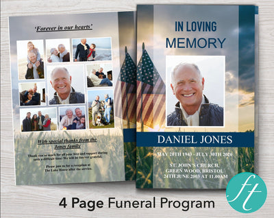 4 Page Military Funeral Program Template